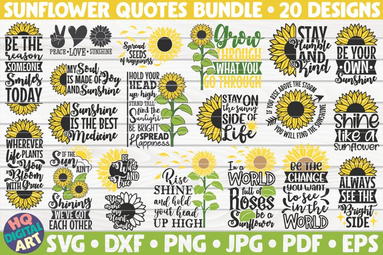 Sunflower quotes bundle SVG | 20 Designs