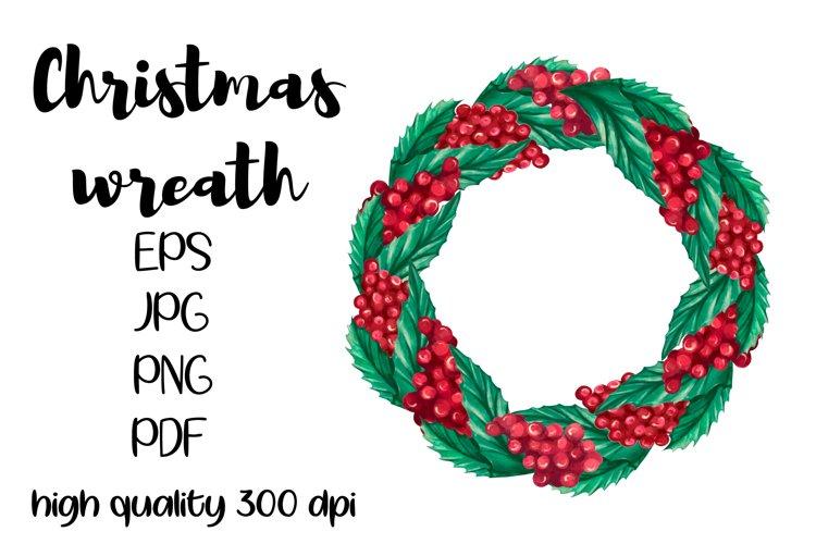 Watercolor Christmas wreath clipart, watercolor x-mas frame