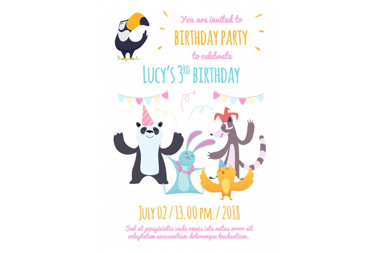 Design template of invitation to kids party. Illustrations o example image 1