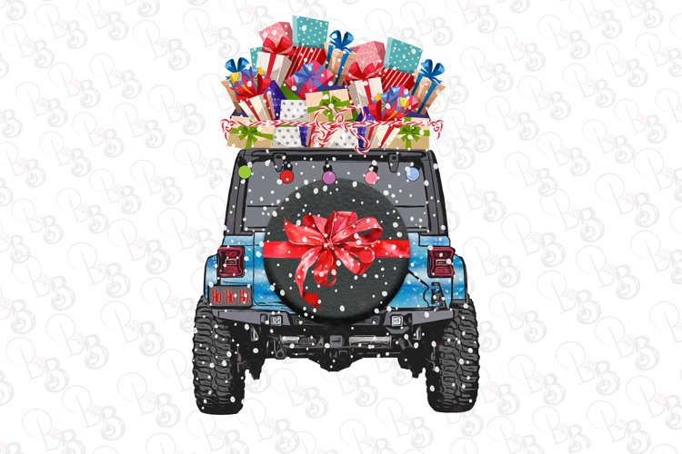 jeep With Presents Christmas Scene