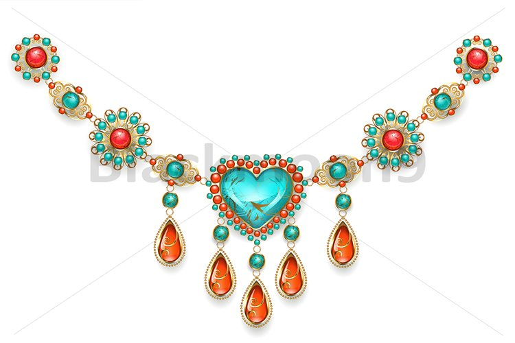 Necklace with Turquoise Heart example image 1