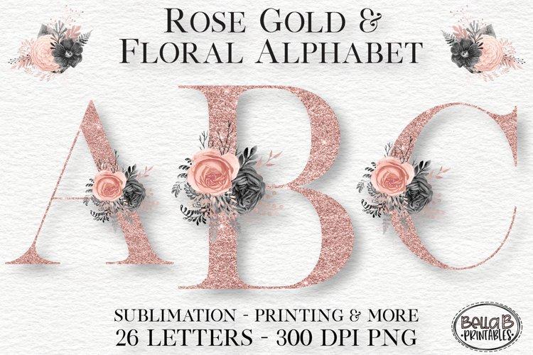 Rose Gold Glitter Floral Alphabet Set, Alphabet Clipart