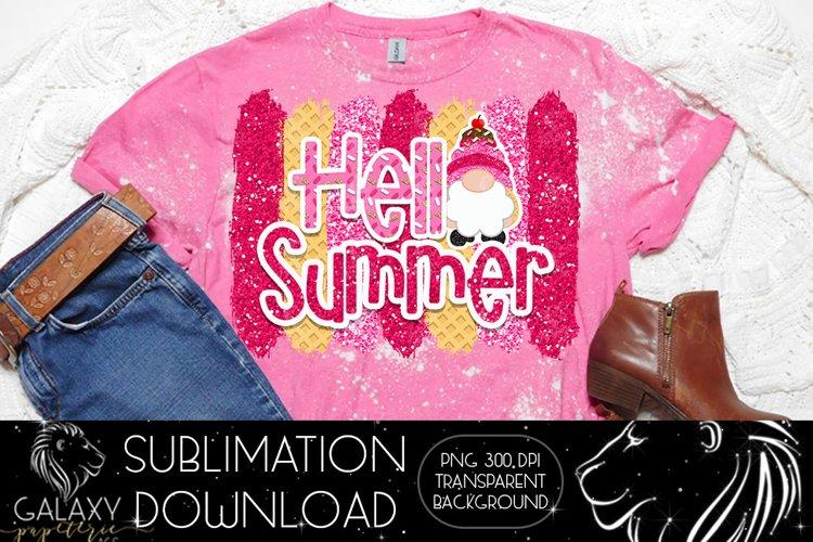 Gnome Hello Summer Ice cream Sublimation Design PNG File
