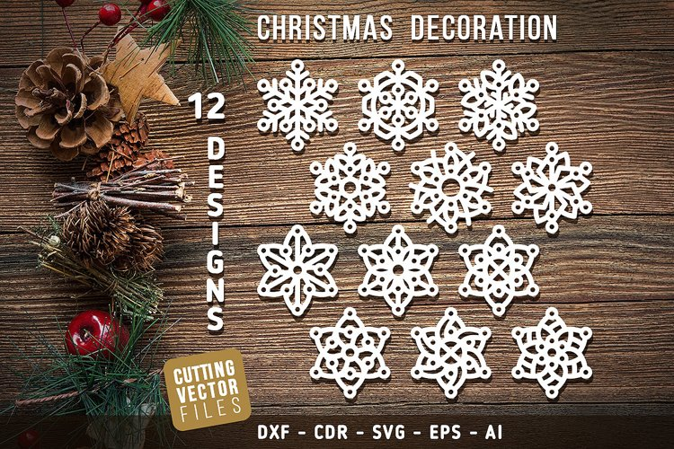 12 Designs of Christmas Decoration for Cutting example image 1