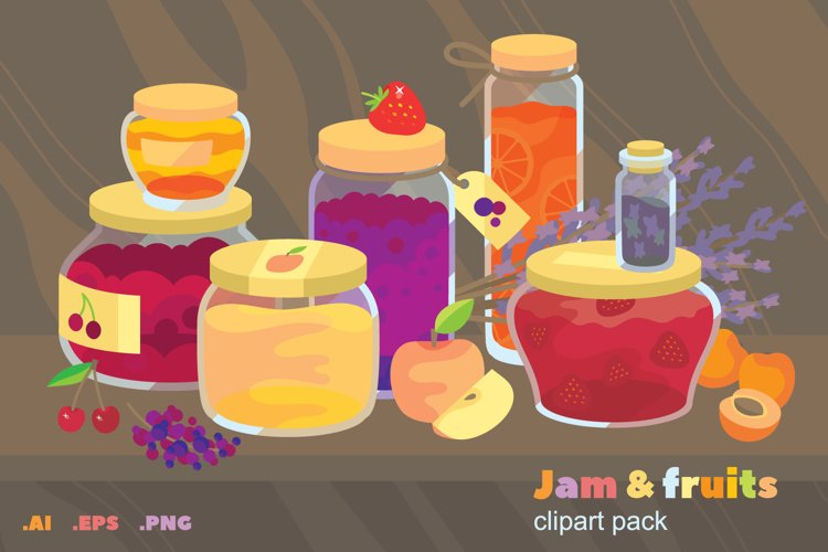 Jam & fruits clipart pack