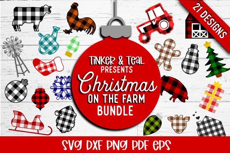 Farmhouse Christmas Buffalo Plaid Design Bundle SVG DXF Cut