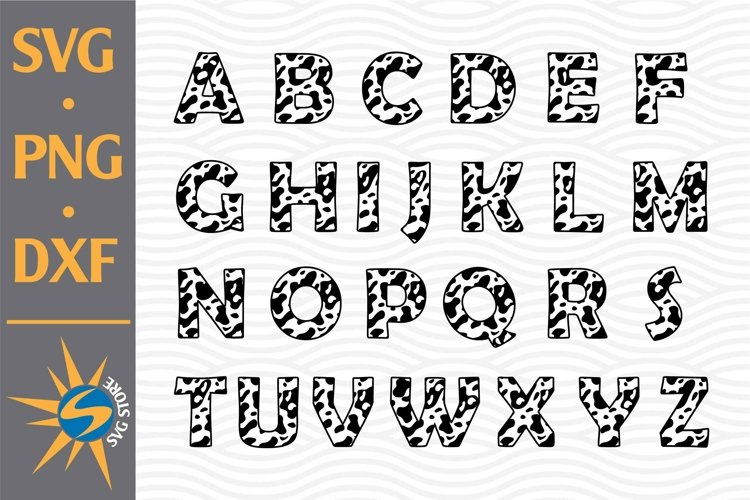 Cow Letters SVG, PNG, DXF Digital Files Include example image 1