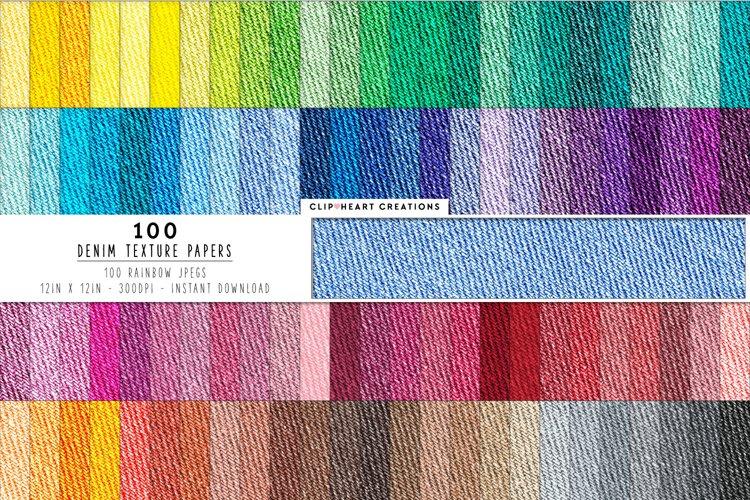 100 Denim Digital Papers in Rainbow Colors example image 1