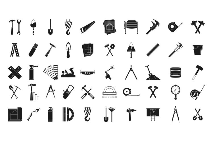 Construction tools icon set, simple style example image 1