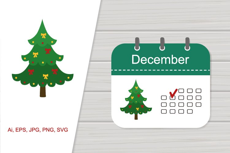 Vector icon calendar December with pattern example image 1