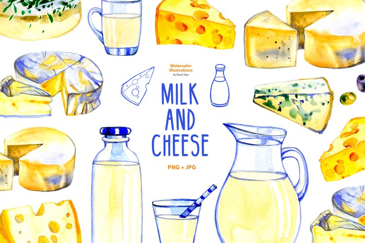 Milk and cheese - watercolor clipart example image 1