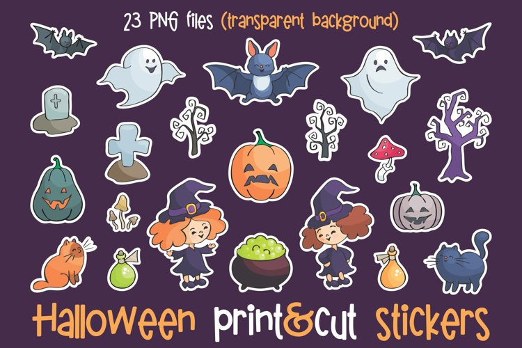 Halloween print and cut stickers set.