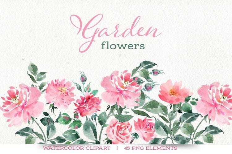 Garden flowers watercolor clipart, floral clipart.