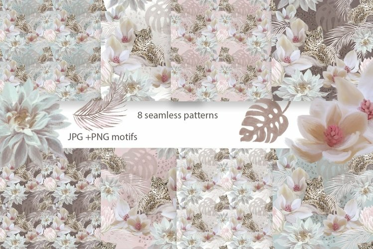 Leopard & flowers seamless patterns example image 1