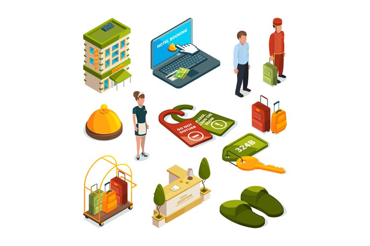 Hotel services. Isometric illustrations example image 1