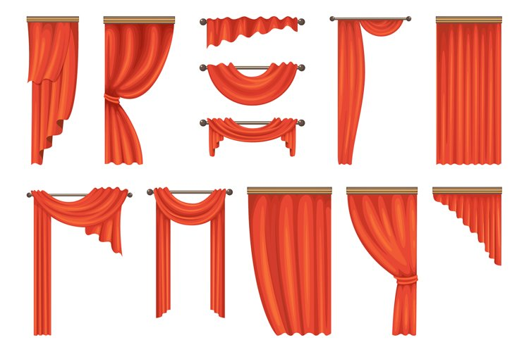 Vector set of theatre red curtains example image 1