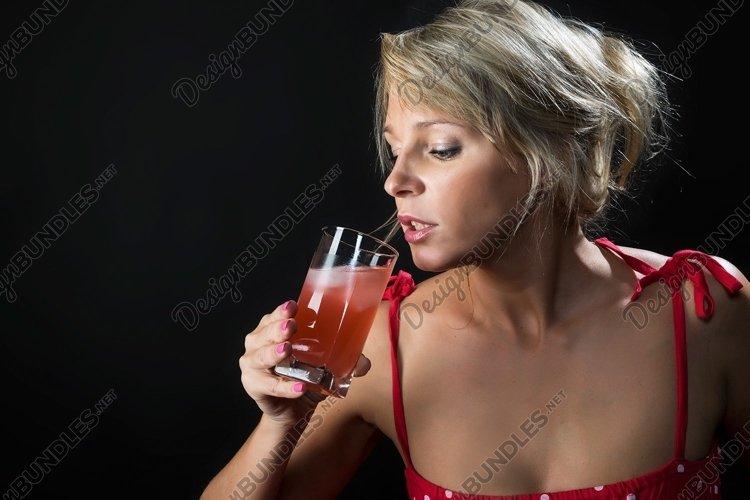 juice, freshness, fruit, drink, girl, glass, red, dress example image 1