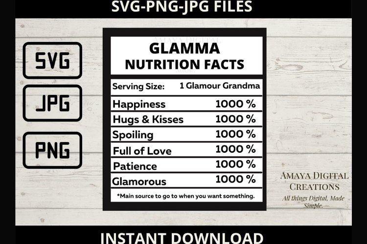 Glamma Nutrition Facts Template, Png,Jpg,Svg Files example image 1