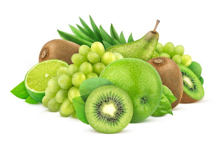 Green fruits isolated on white background example image 1