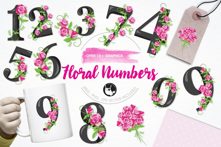 Floral Numbers graphics and illustrations example image 1