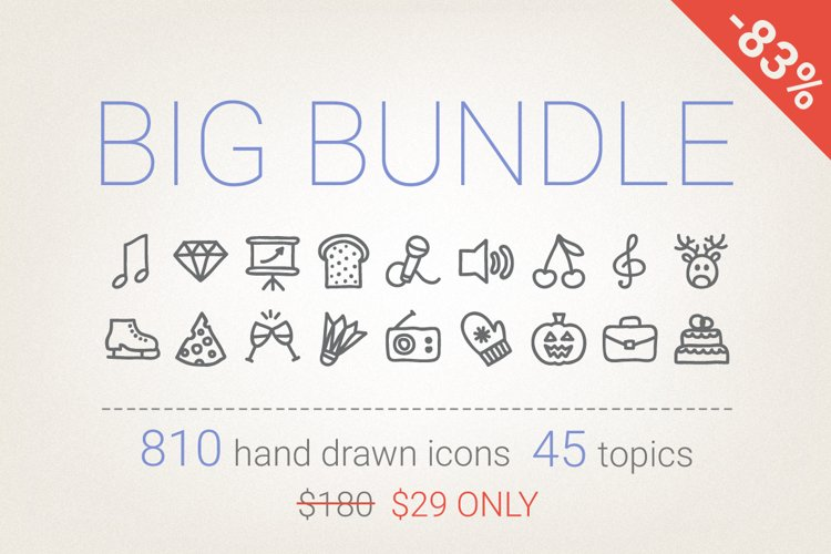 83 Off - Hand Drawn Icons Bundle example image 1