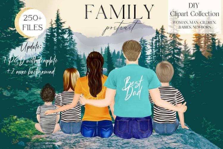 Family Clip Art, Custom Family Portrait, Sitting Family
