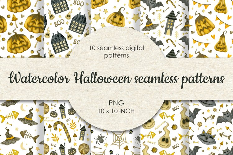 Watercolor seamless patterns halloween. example image 1