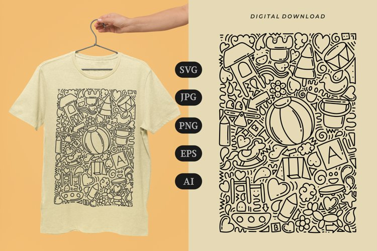 Playground Doodle T-shirt   SVG example image 1