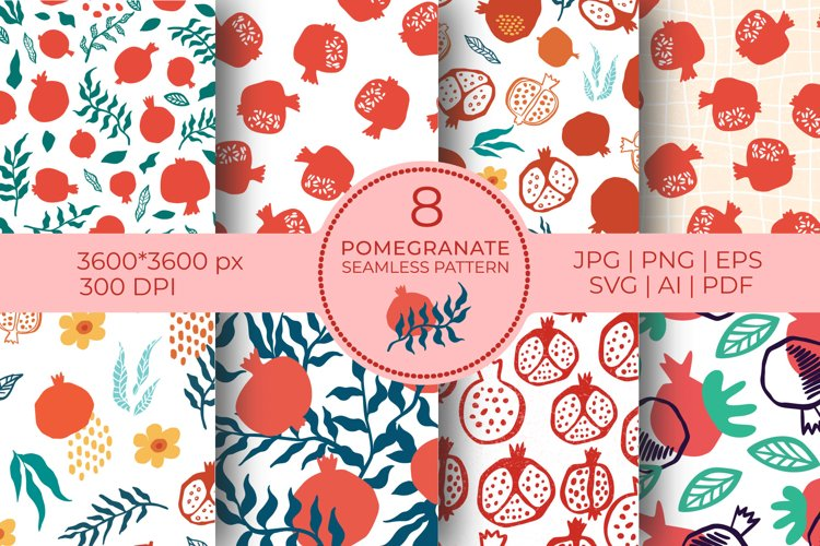 Food Background Printable Seamless Pattern Digital Papers Pack Pomegranate Digital Paper Fruit Wrapping Paper Scrapbook Sheet