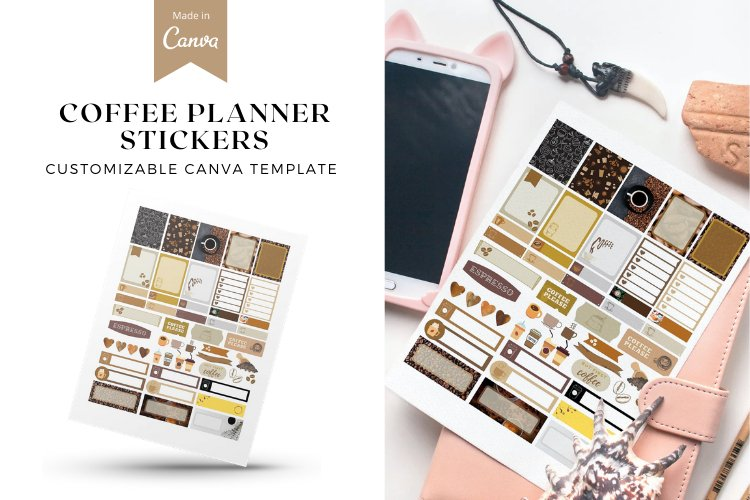 Coffee Lover Planner Stickers Canva Template, Customizable example image 1