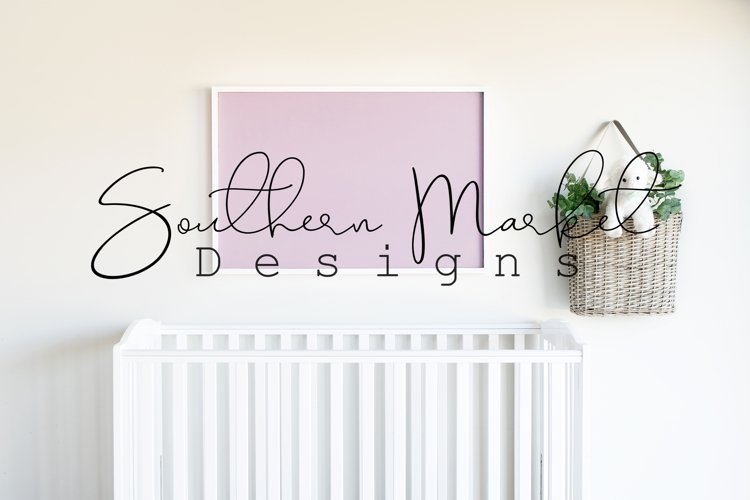 24x36 Nursery Sign Mock Up Wood Frame Styled Photography