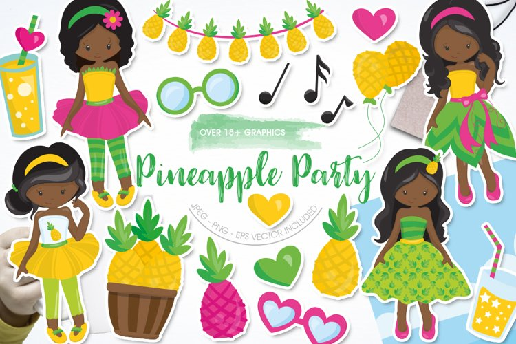 African American girls pineapple party graphics - vectors example image 1
