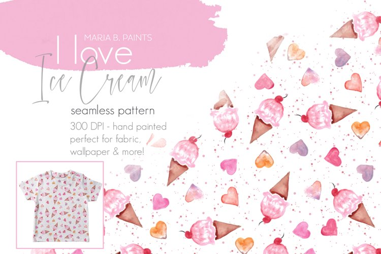 I love Ice Cream & Hearts Seamless Pattern Design example image 1