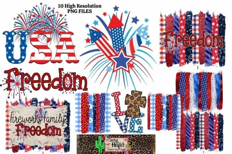 July 4th Patriotic Bundle Hand drawn Leopard Dye Sublimation