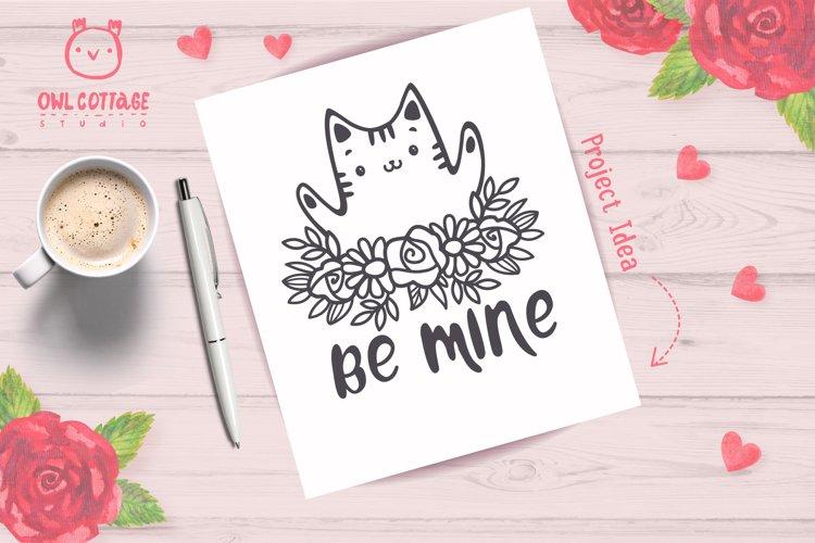 Valentine Cat svg , Kitten with floral decor Svg, Valentine' example 8