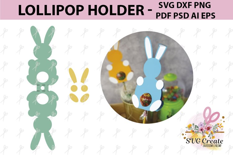 Lollipop holder template, candy holder, easter gift example image 1