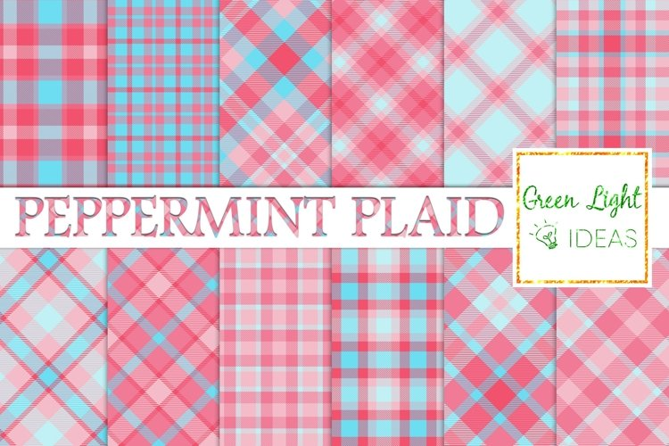 Peppermint Plaid Digital Papers, Tartan Scrapbook Papers example image 1