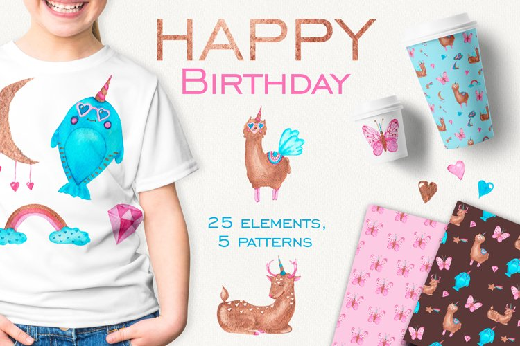 Happy birthday with unicorns example image 1