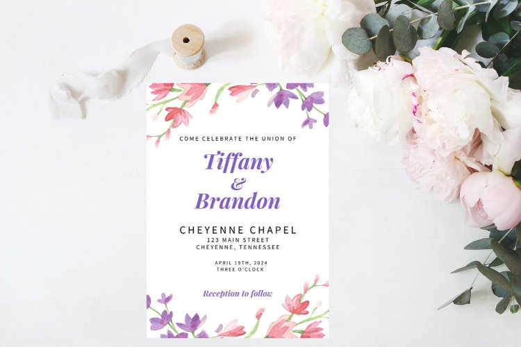 Pink and Purple Watercolor Floral Wedding Invitation example image 1
