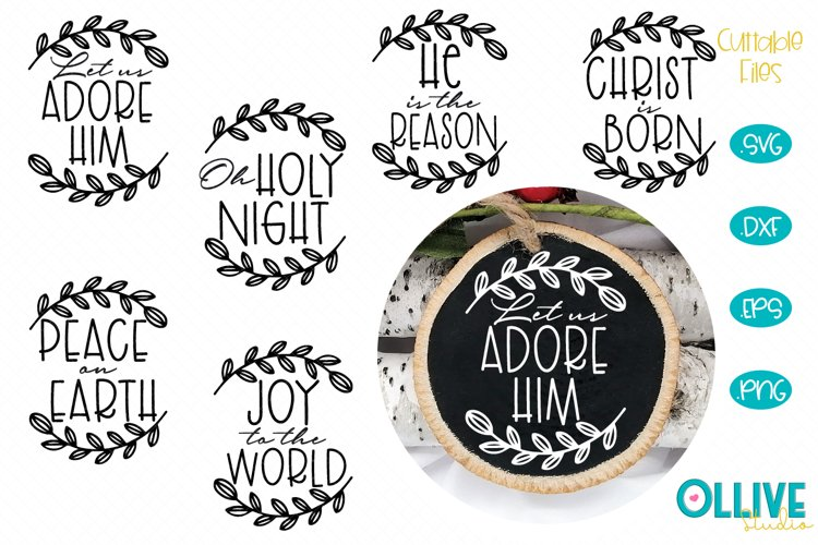 Christmas Ornaments Rounds Religious Bundle SVG example image 1