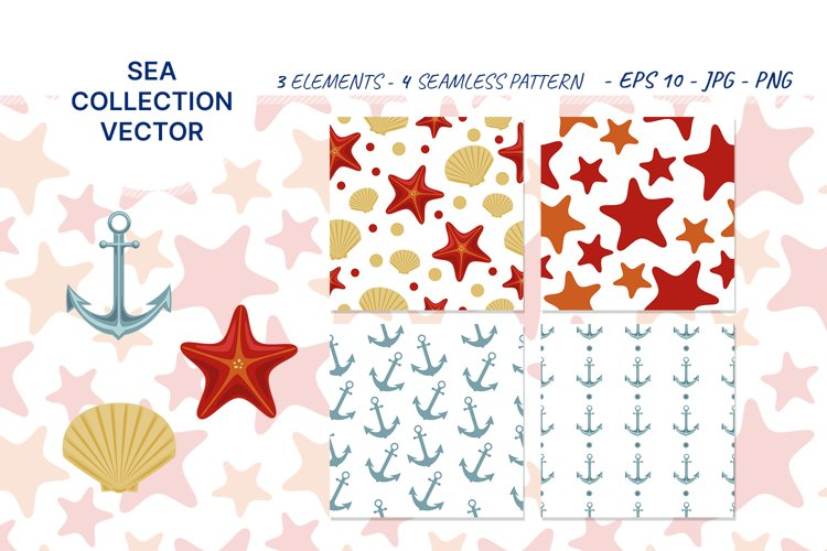 Vector illustration of sea shell, star and anchor. Patterns example image 1