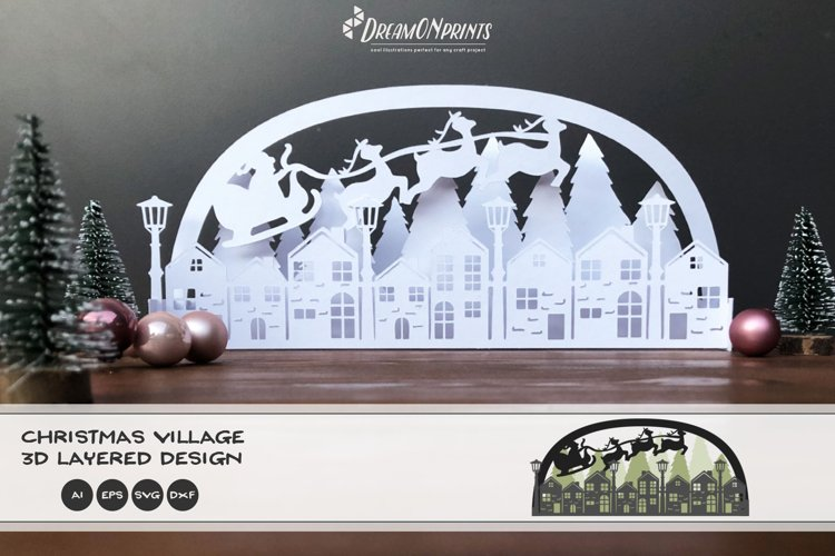 3D Christmas Village SVG | Christmas SVG 3D Layered Design