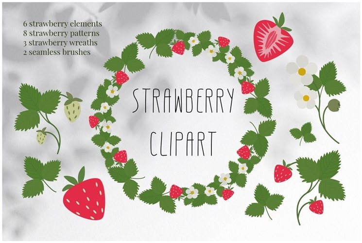 Strawberry clipart. Berry patterns, wreaths, and more.