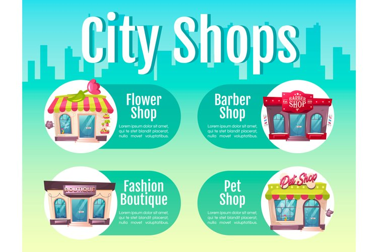 City shop flat color informational infographic template example image 1