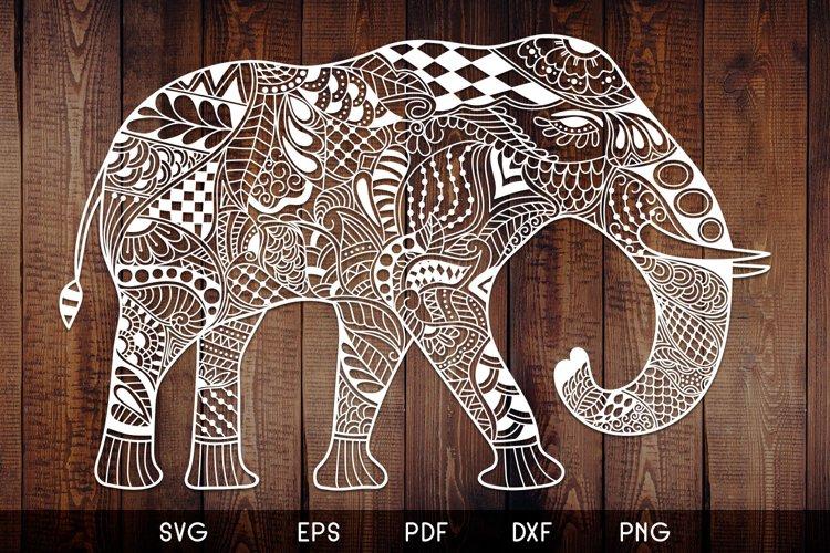 Elephant Zentangle - Doodle Art SVG - Vector example image 1