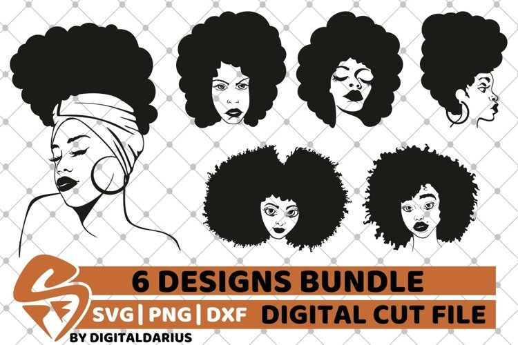 6x Afro Woman Bundle SVG, afro lady svg, file, natural hair