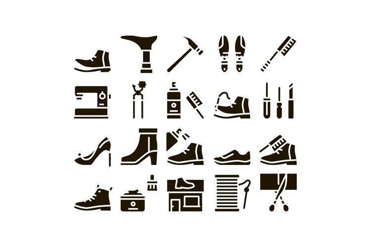 Shoe Repair Equipment Glyph Set Vector example image 1