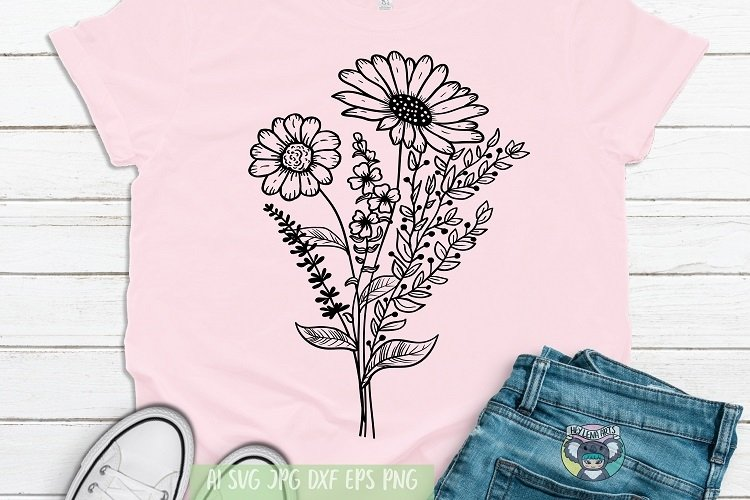 Bouquet svg, Floral svg, Wildflower, Daisy svg, Cricut Files example image 1