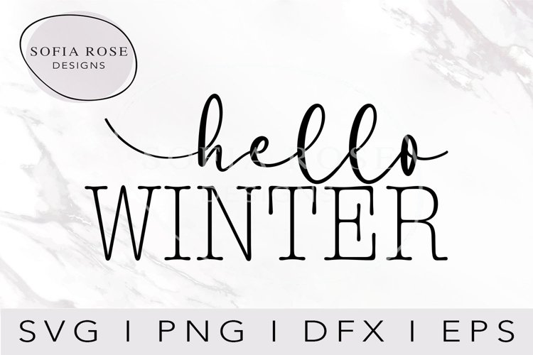 hello WINTER SVG-Winter SVG- Hello SVG-Seasons SVG-Clip Art example image 1