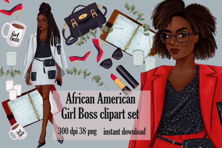 Fashion clipart, African american Boss girl clipart PNG example image 1